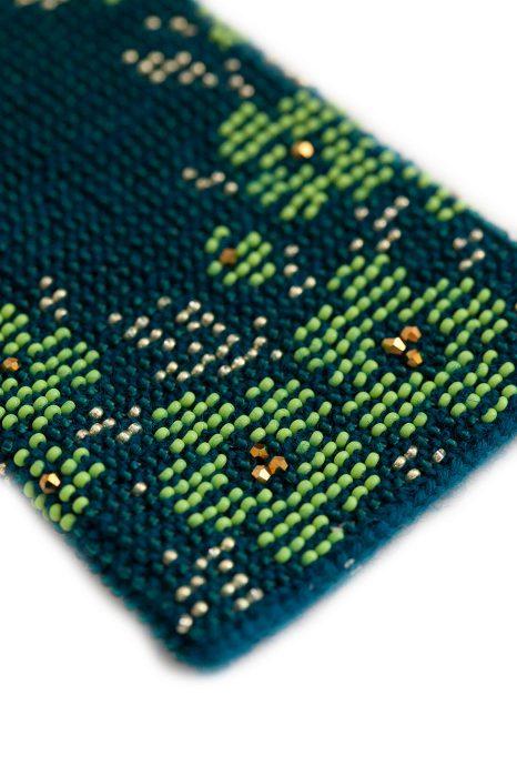 Riešinės Gėlynas su žaliais karoliukais