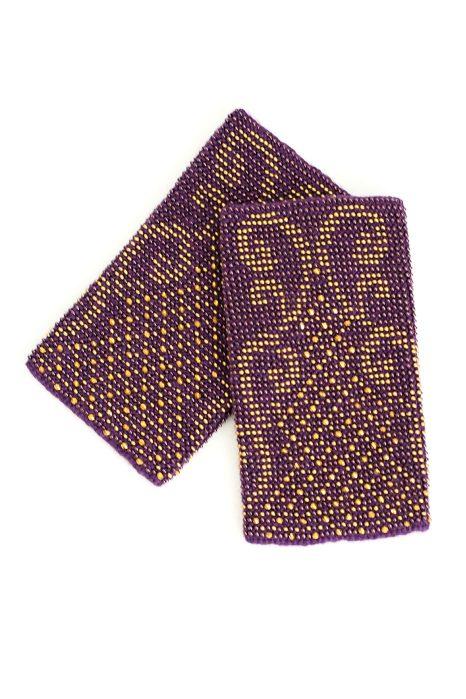 Violetinės su auksiniu raštu megztos riešinės Rokoko